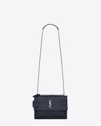 SAINT LAURENT Sunset D Bag Medium SUNSET color blu ghiaccio scuro in coccodrillo stampato lucido f