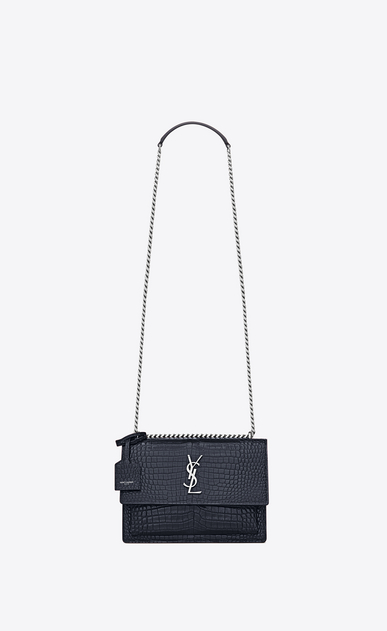 SAINT LAURENT Sunset D Medium SUNSET bag in dark ice blue crocodile embossed shiny leather a_V4