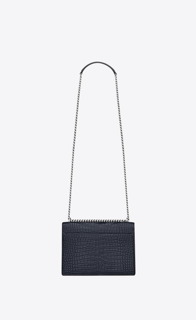 SAINT LAURENT Sunset Woman Medium SUNSET bag in dark ice blue crocodile embossed shiny leather b_V4