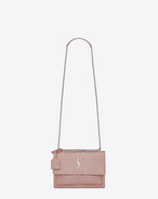 SAINT LAURENT Sunset D Sac Medium SUNSET en cuir brillant embossé façon crocodile rose poudré f