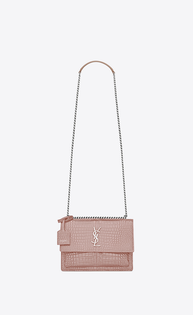 SAINT LAURENT Sunset D Medium SUNSET bag in powder pink crocodile embossed shiny leather a_V4