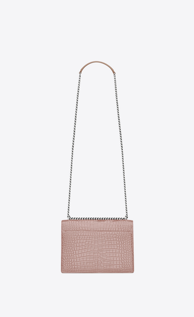 SAINT LAURENT Sunset D Medium SUNSET bag in powder pink crocodile embossed shiny leather b_V4