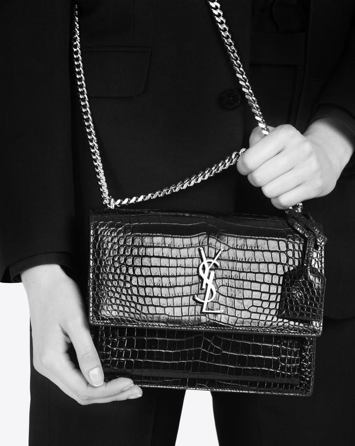 9c8604fd2d Zoom  Medium SUNSET bag in powder pink crocodile embossed shiny leather