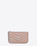 SAINT LAURENT Monogram Matelassé D MONOGRAM key pouch in powder pink matelassé leather f