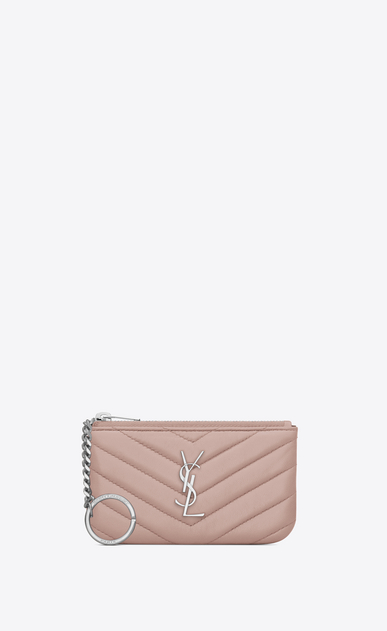 SAINT LAURENT Monogram Matelassé D MONOGRAM key pouch in powder pink matelassé leather a_V4