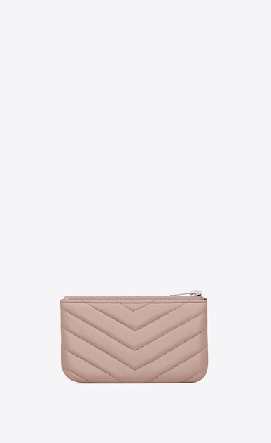 SAINT LAURENT Monogram Matelassé D MONOGRAM key pouch in powder pink matelassé leather b_V4