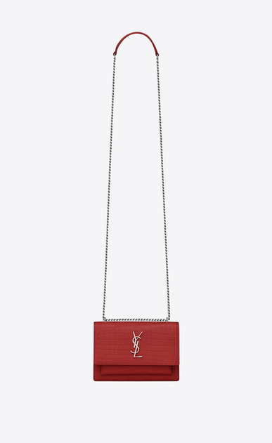 SAINT LAURENT Mini bags sunset Woman sunset chain wallet in red crocodile embossed shiny leather a_V4