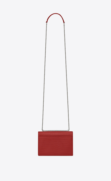 SAINT LAURENT Mini bags sunset Woman sunset chain wallet in red crocodile embossed shiny leather b_V4
