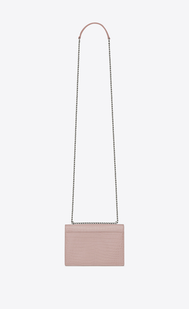 SAINT LAURENT Sunset D SUNSET chain wallet in powder pink crocodile embossed shiny leather b_V4