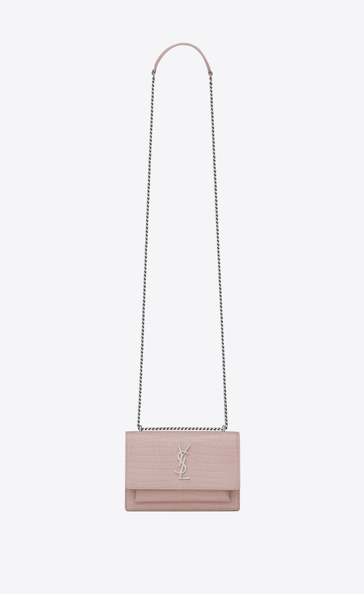 Zoom  SUNSET chain wallet in powder pink crocodile embossed shiny leather  f36a6c8796f8f