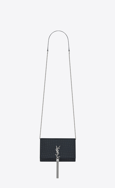 SAINT LAURENT Mini bags Kate Woman KATE chain and tassel wallet in matte dark blue crocodile embossed leather a_V4