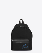 SAINT LAURENT City Backpack D Mini City Rucksack aus schwarzem und blauem diagonalem Canvas mit Stickerei f