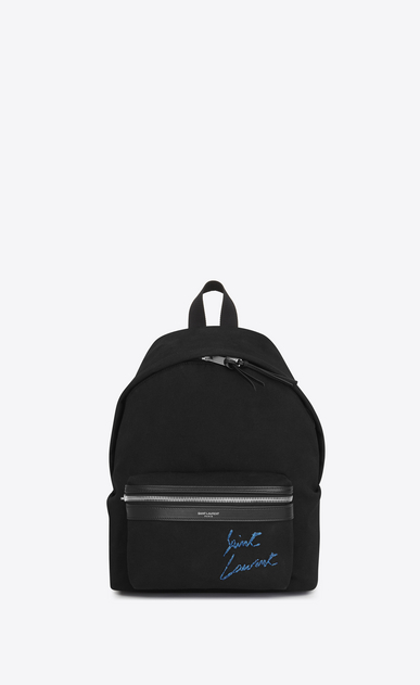 SAINT LAURENT City Backpack Woman Mini CITY embroidered backpack in black and blue diagonal canvas a_V4