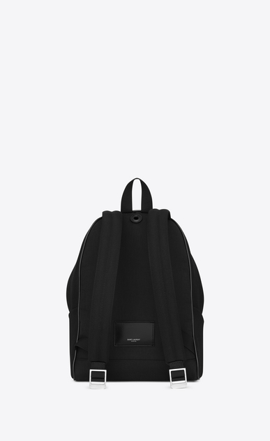 SAINT LAURENT City Backpack Woman Mini CITY embroidered backpack in black and blue diagonal canvas b_V4