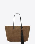 SAINT LAURENT Shopping Saint Laurent E/W D SHOPPING bag in taupe suede with black leather tassel f
