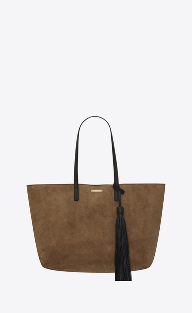 SAINT LAURENT Shopping Saint Laurent E/O D Sac SHOPPING en suède taupe et pompon en cuir noir a_V4