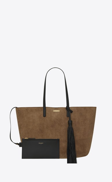 SAINT LAURENT Shopping Saint Laurent E/O D Sac SHOPPING en suède taupe et pompon en cuir noir b_V4