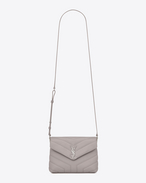 "SAINT LAURENT Monogramme Loulou D Small TOY LOULOU bag in mouse-gray ""Y"" matelassé leather f"