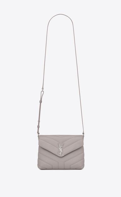 "SAINT LAURENT Monogramme Loulou D Small TOY LOULOU bag in mouse-gray ""Y"" matelassé leather a_V4"