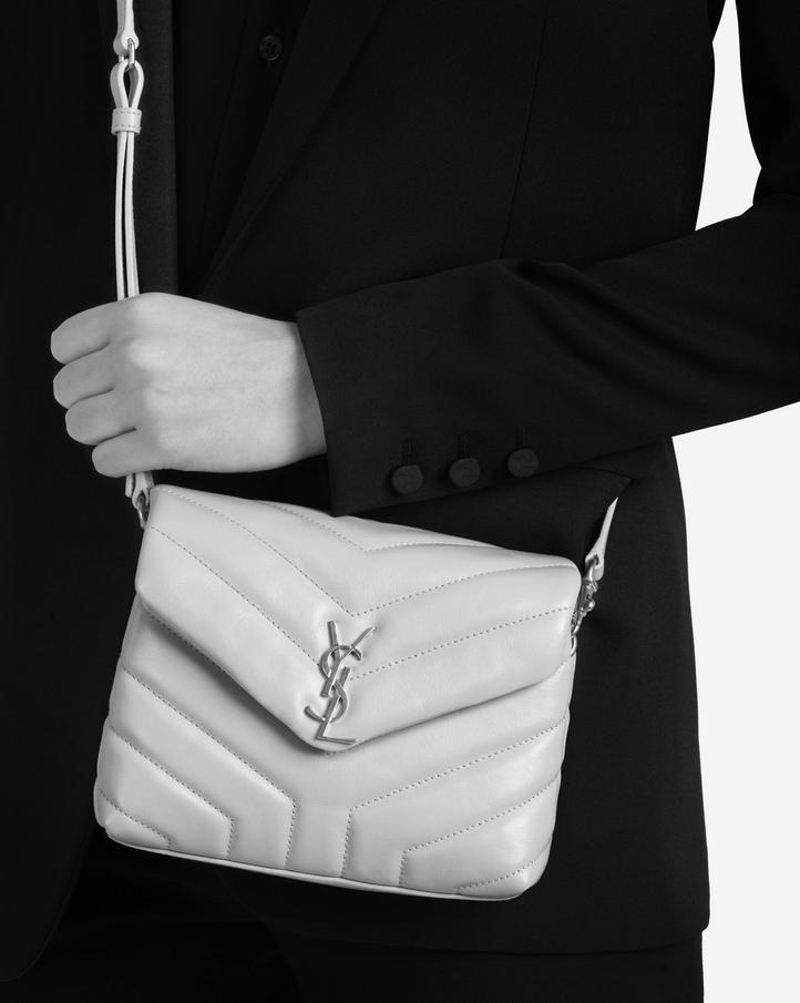 """75415c365e46 Saint Laurent Toy Loulou Strap Bag In Mouse Gray """"y"""" Matelassé ..."""