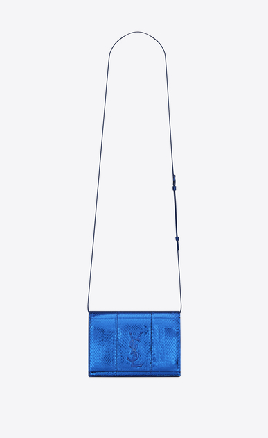 SAINT LAURENT MONOGRAM KATE D KATE Toy bag in metal blue and black Ayers snake skin v4