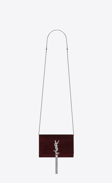SAINT LAURENT Mini bags Kate Donna Portafogli KATE con catena e nappina bordeaux in velluto e cristallo a_V4