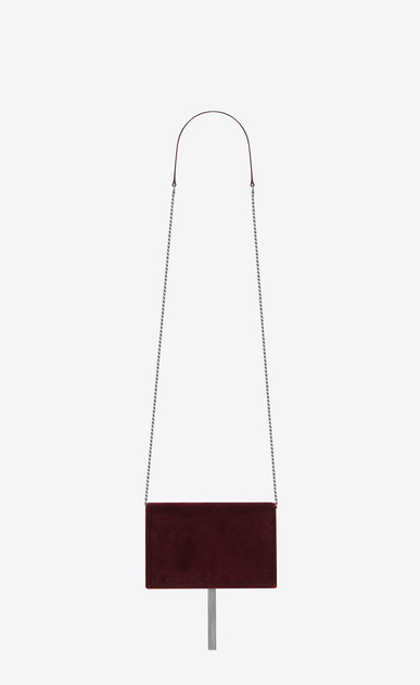 SAINT LAURENT MONOGRAM KATE WITH TASSEL D Portefeuille à chaîne et pompon KATE en velours bordeaux et cristaux b_V4