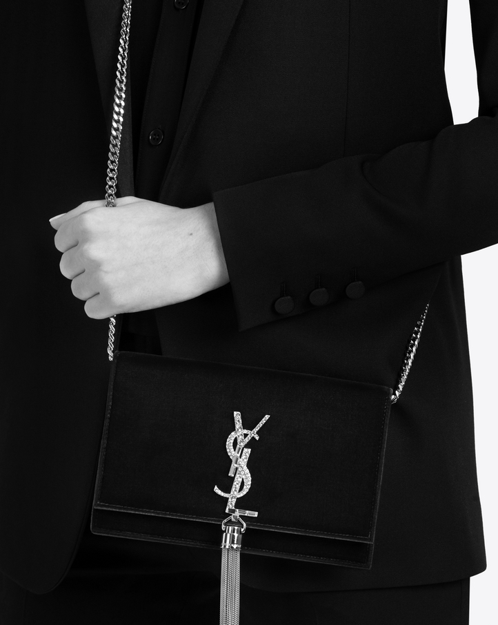 946b6d82d08f7 Saint Laurent Kate Chain Wallet With Tassel In Velours And ...