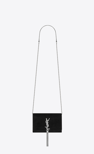 SAINT LAURENT MONOGRAM KATE WITH TASSEL D KATE chain and tassel wallet in black velvet and crystals a_V4