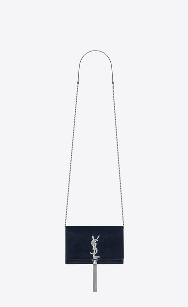 SAINT LAURENT Mini bags Kate Woman KATE chain and tassel wallet in dark blue velvet and crystals a_V4