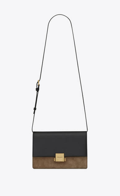 SAINT LAURENT Bellechasse D Medium BELLECHASSE SAINT LAURENT bag in black leather and taupe suede a_V4