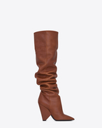 SAINT LAURENT Niki D NIKI 105 thigh-high boot in cognac leather f