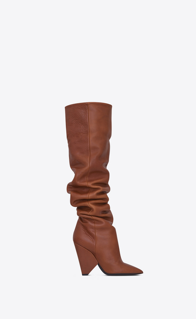 SAINT LAURENT Niki Woman NIKI 105 thigh-high boot in cognac leather a_V4