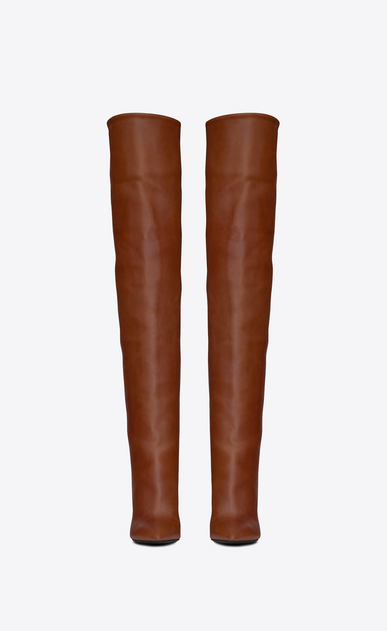 SAINT LAURENT Niki D NIKI 105 thigh-high boot in cognac leather b_V4