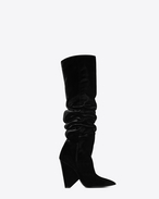 SAINT LAURENT Niki D NIKI 105 thigh-high boot in black velvet f