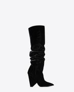 SAINT LAURENT Niki D NIKI 105 hoher Stiefel aus schwarzem Samt f