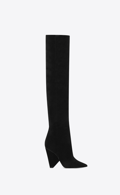 SAINT LAURENT Niki Woman NIKI 105 thigh-high boot in black velvet b_V4