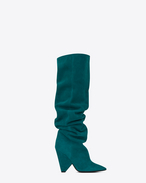 SAINT LAURENT Niki D NIKI 105 thigh-high boot in petrol blue suede f