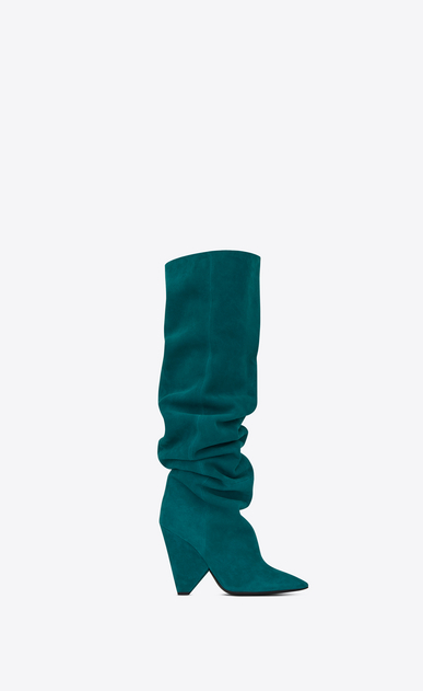 SAINT LAURENT Niki Woman NIKI 105 thigh-high boot in petrol blue suede a_V4