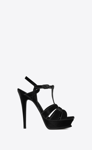 SAINT LAURENT Tribute D Tribute 105 sandal in black velvet a_V4
