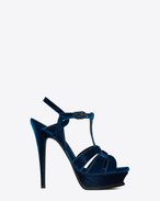SAINT LAURENT Tribute D Tribute 105 sandal in ocean blue velvet f