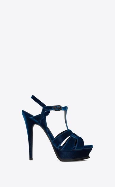 SAINT LAURENT Tribute D Tribute 105 sandal in ocean blue velvet v4