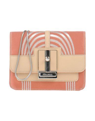 SANTONI レディース ハンドバッグ サーモンピンク 革 / 紡績繊維