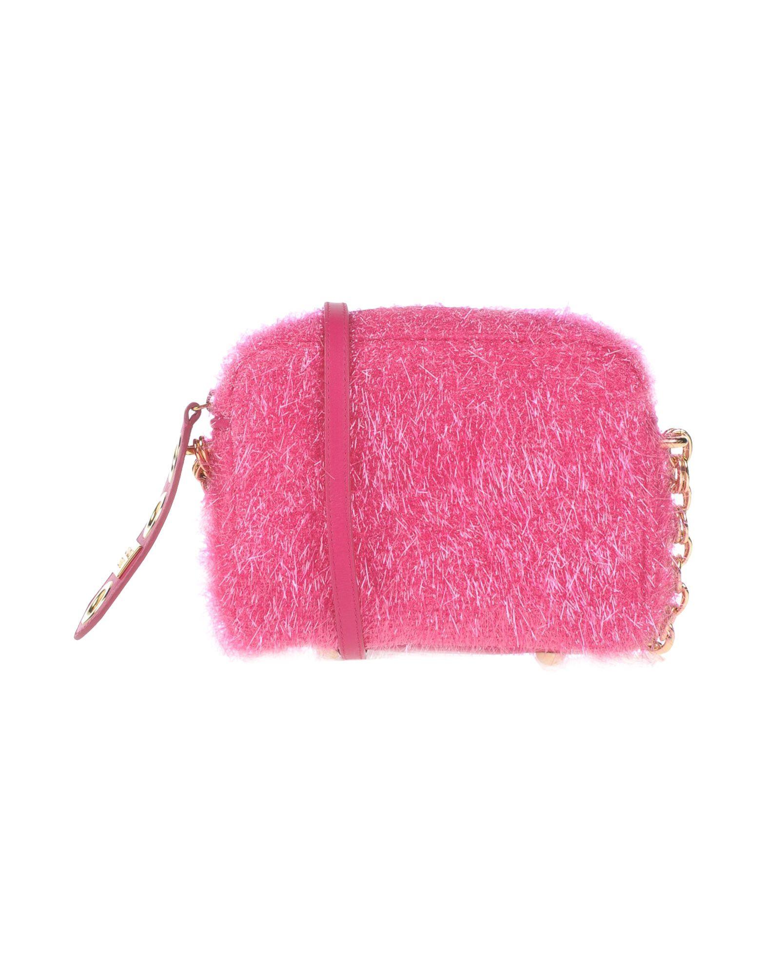 《送料無料》BOUTIQUE MOSCHINO レディース メッセンジャーバッグ フューシャ 革 / 紡績繊維