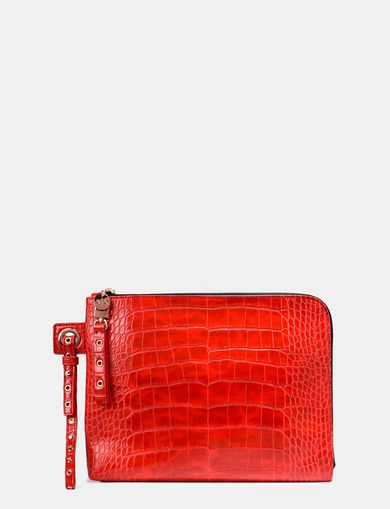 RIVET DETAIL EMBOSSED CROC WRISTLET