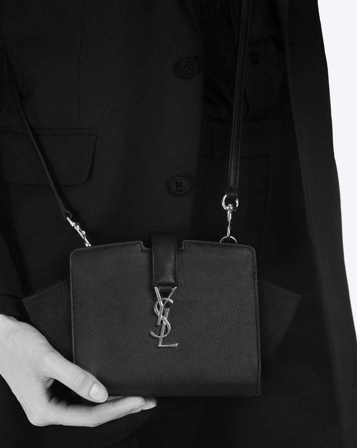 58cf25a9a7d4 Saint Laurent Toy Ysl Cabas Bag In Black Leather