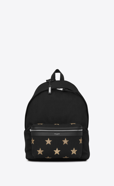 SAINT LAURENT Backpack Herren city california backpack in black canvas twill, gold metallic grained leather and black nylon a_V4