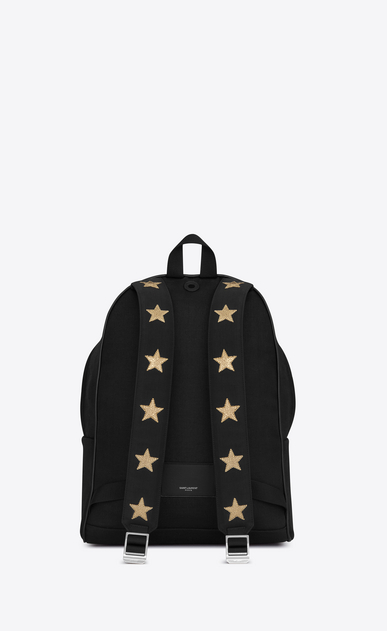SAINT LAURENT Backpack Man city california backpack in black canvas twill, gold metallic grained leather and black nylon b_V4