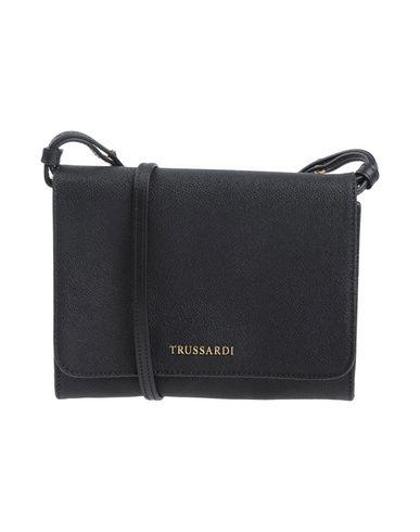 TRUSSARDI レディース ハンドバッグ ブラック ポリ塩化ビニル 100% / 牛革(カーフ)
