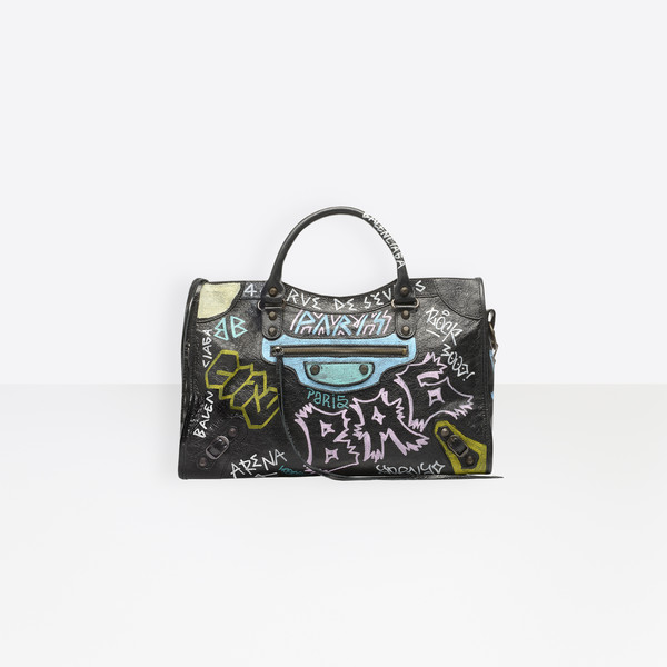 BALENCIAGA City Classic Graffiti Borsa a Mano Seasonal Donna f